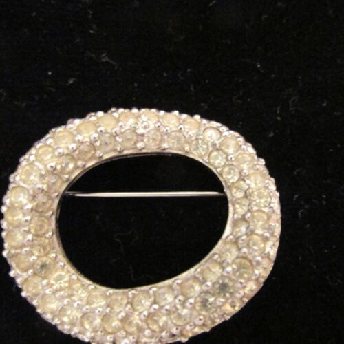 Vintage GIVENCHY Brooch Pin Signed Classic Circle Rhinestones Clear Silver Color