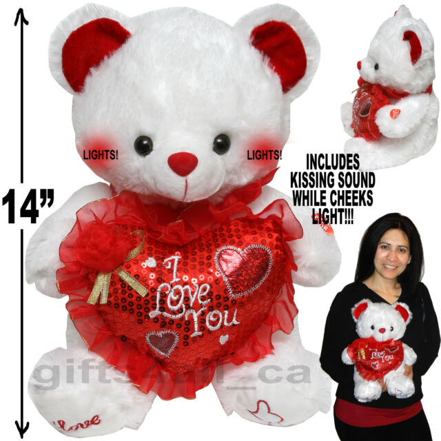 CUTE VALENTINE DAY STUFFED TEDDY BEAR I LOVE YOU PLUSH HEART KISSING SOUND  LIGHT