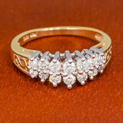 1/2 carat tw Round Diamond Ring Two Row Anniversary Wedding Band Gold .50 ct