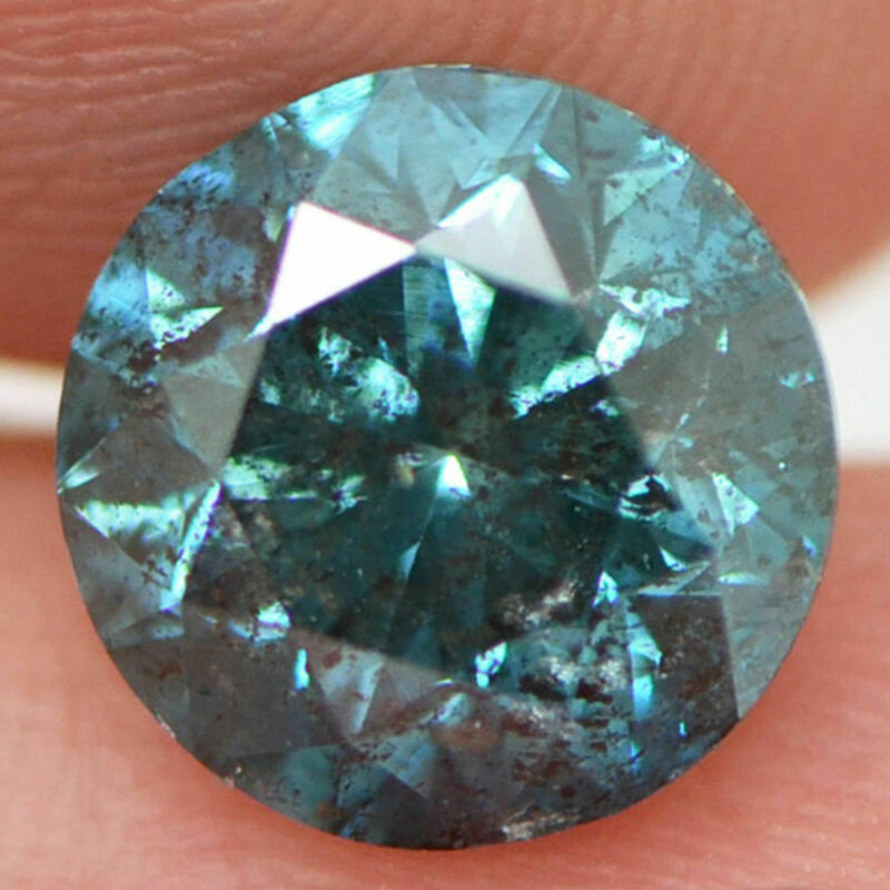 3 ct Loose Diamond Round Shape Fancy Blue Color Natural Enhanced I1 Certified
