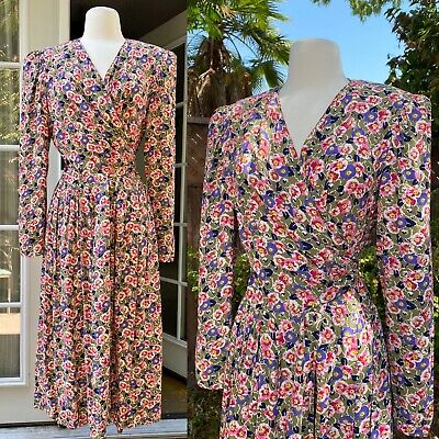 80s Dresses | Casual to Party Dresses vintage 1980s dress Ms Chaus Floral Calico Prairie Rayon Wrap Dress M  $30.00 AT vintagedancer.com