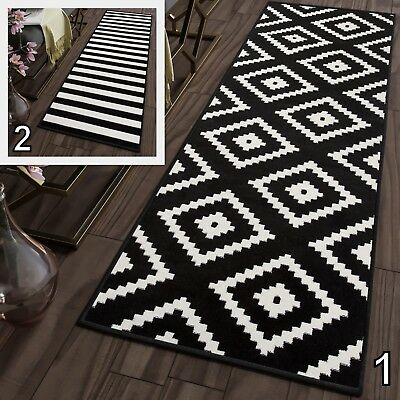 Soft Black & White Modern Hallway Runners Corridor Stairs Non-Shed Floor Rugs   - Black And White Floor Runner