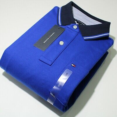 Men's Tommy Hilfiger Short Sleeve Blue and Black Polo Shirt | NWT