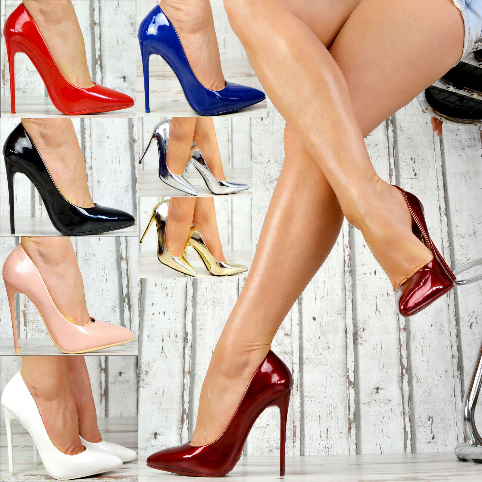 Neu Spitze Damenschuhe Party Glanz Lack Pumps Damen High Heels XXL Stiletto