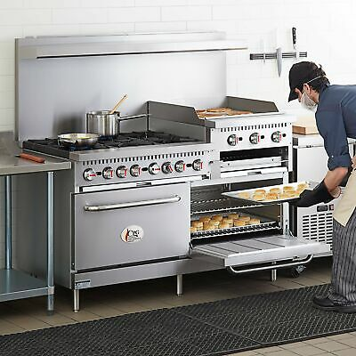 60 Natural Gas Commercial 6 Burner Range With 24 Griddle And 2 Standard Ovens