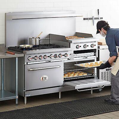 60 Natural Gas Commercial 6 Burner Range With 24 Griddle And 2 Standard Ovens