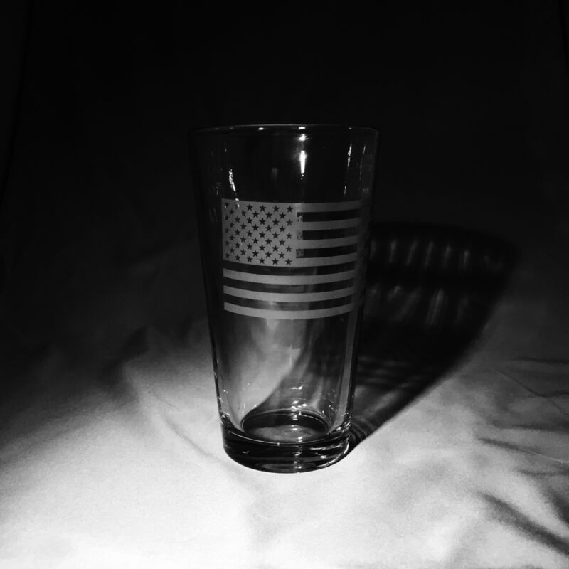 Set of 4 Pint Glasses - Hand-Etched with the American Flag