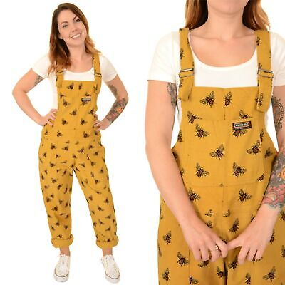 Run and Fly Mustard Yellow Bee Print Corduroy Dungarees Jumpsuit 8 10 12 14 16 1