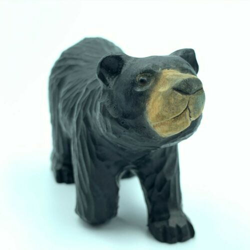"""Hand Carved Wood Wooden Bear Figurine 5"""" Long"""