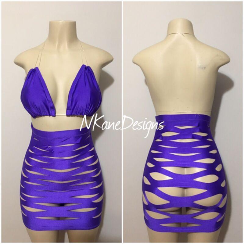 Exotic Dancewear, High Waist Cut Up Skirt Set Stripper Clothes Purple . M