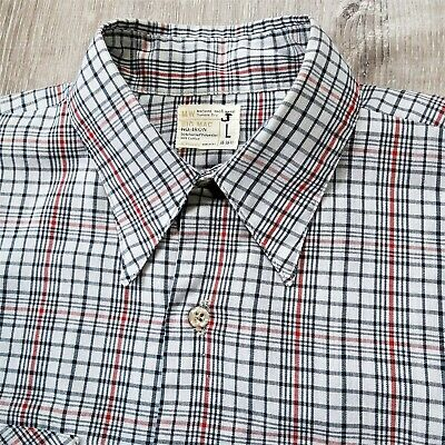 1970s Men's Shirt Styles – Vintage 70s Shirts for Guys Vintage 70s JC Penny Big Mac Plaid Check Work Shirt 1970s Retro Rockabilly L $47.06 AT vintagedancer.com