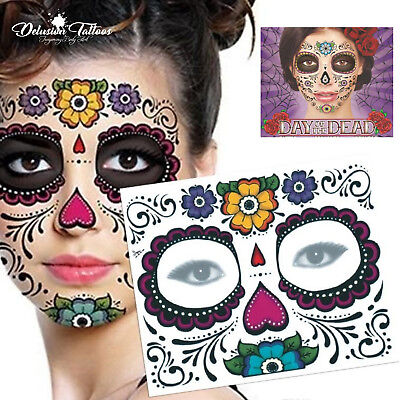 Day of the Dead Face Temporary Tattoo Transfer Mask Halloween Sugar Skull Floral (Day Of The Dead Halloween Faces)