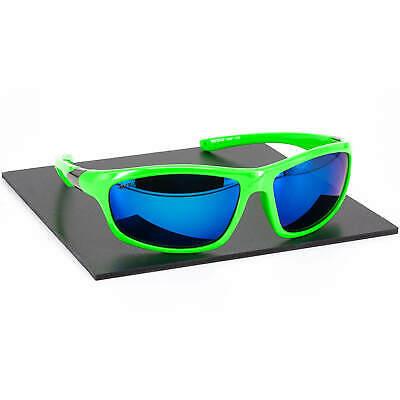 Herren Damen Sport Sonnenbrille Kunststoff Neon Rahmen Blau Verspiegelt UV 400