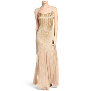 Brand New Adrianna Papell beaded mesh trumpet gown sz sm
