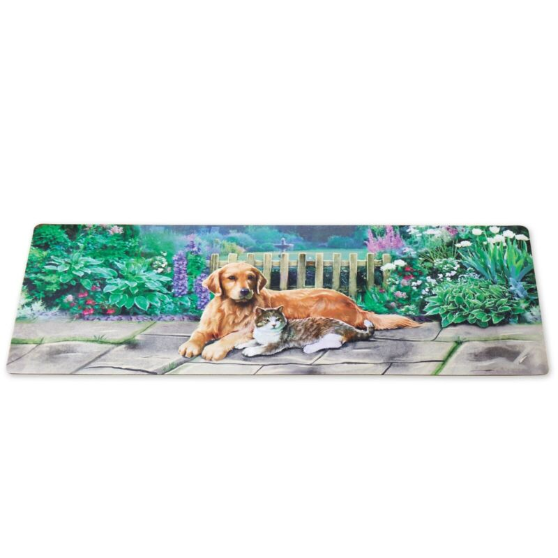 """NEW"" Friendly Dog and Cat in a  Garden Runner Rug Skid resistant backing"