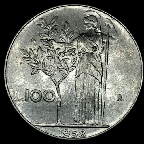 RARE : KAY DATE~ 1958 R Italy 100 Lira Coin (Stainless Steel) UNC.KM#96.1