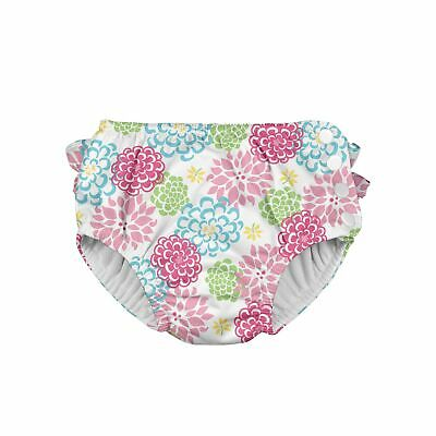 Baby Swim Diaper Snap Closure High Absorbency Soft Material White Zinnia Pattern