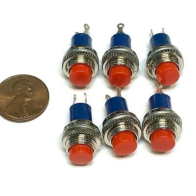 6 Pieces Red Nc 10mm Normally Closed 12v Nc Push Momentary Button Switch C19