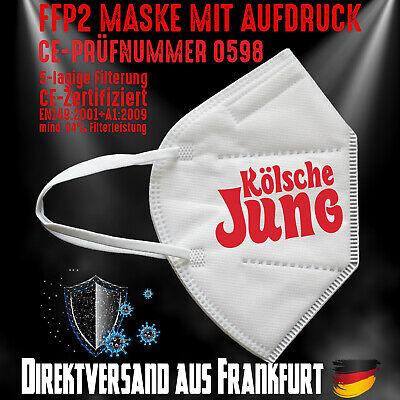 FFP2 Maske Mundschutz Mundmaske weiß CE 0598 Aufdruck Kölsche Jung Köln