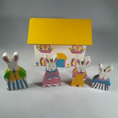 Vintage 1990's Pier 1 Imports Wooden Bunny House Easter Decoration Wood Bunnies