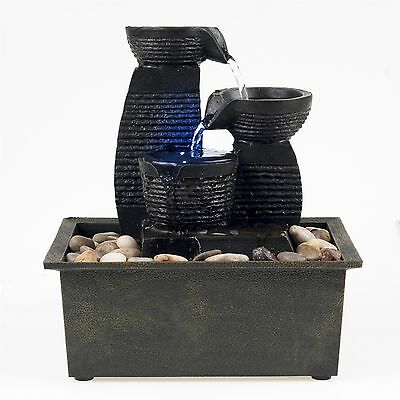 Table Top Electric Water Fountain Triple Pillar with LED Light Calming Sound