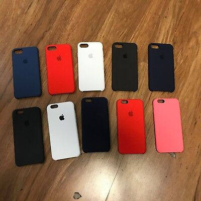 Iphone White Silicone Case (NEW OEM APPLE SILICONE CASE FOR IPHONE 6 6S 7 8 RED BLACK WHITE PINK BLUE )