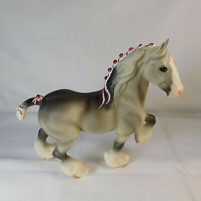 Breyer #627 Dapple Gray Shire w Red and White Ribbons VGC