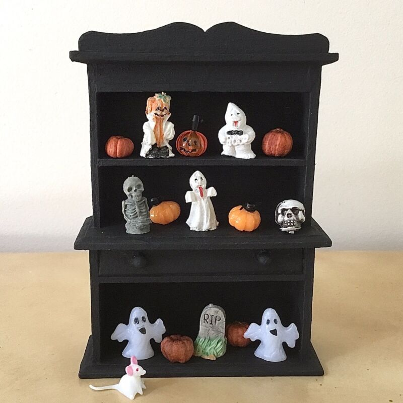 Halloween Dollhouse Hutch - Filled With Miniature Collectibles - Cute
