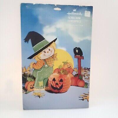 "Vintage Hallmark Halloween Scarecrow Honeycomb Centerpiece 10 3/4"" [Complete ]"