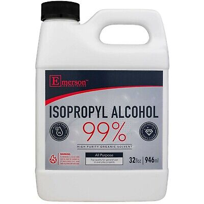 Emerson Labs 99% Isopropyl Rubbing Alcohol for Cleaning Disinfecting (32ozQuart)