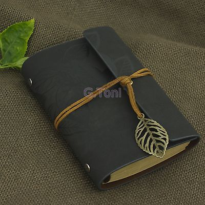Personalized Portable Leaves Leather Travel Notebook Refillable Sketchbook Grey