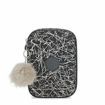 Kipling 100 Pens Case Navy Stick w/ Monkey Keychain Brand New w/ Tags Sealed Bg