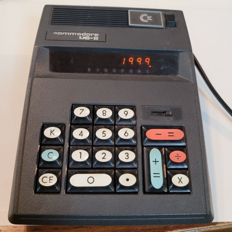 Commodore US 8 Calculator Adding Machine Vintage USA Made Electronic Used Works
