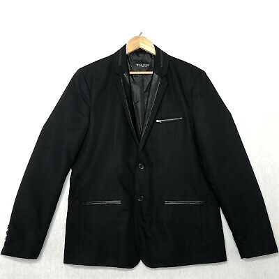 GUESS Men's Jacket Cotton Casual Black Blazer Sporty Sz XL Faux Leather Zipper -