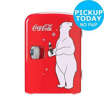 Coke Table Top Mini Fridge With Bear - Red