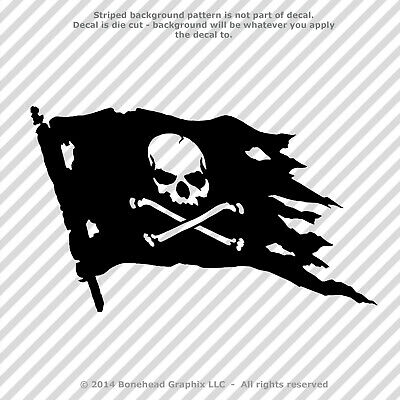 Jolly Roger Skull and Cross Bones Pirate Flag Vinyl Decal Sticker - 25 Colors - Skull And Crossbones Stickers