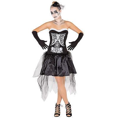Sexy Skelett Lady Halloween Kostüm Karneval Fasching Frauenkostüm Gothic Damen
