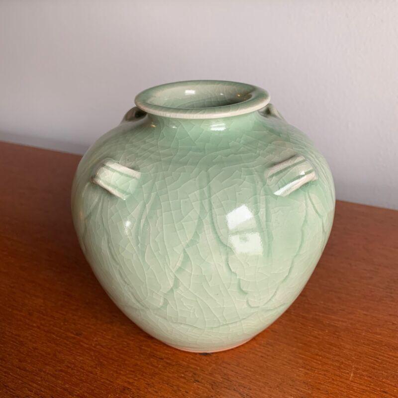 Mengrai Pottery Celedon Vase Thailand Kiln Ceramic Jade Green