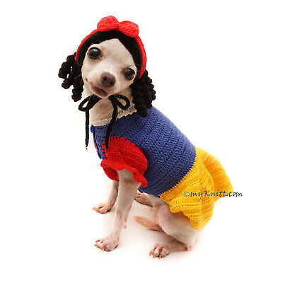 Snow White Dog Costume Crochet, Snow White Dog Hat Pet Wig Rare F123 by Myknitt - Dog Snow White Costume