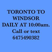 RIDESHARE TORONTO TO WINDSOR DAILY BY JO 6475490382.