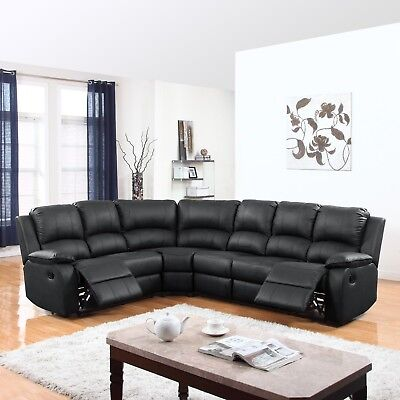 Traditional Large Living Room Sofa Sectional with Reclining Seats, Faux Leather