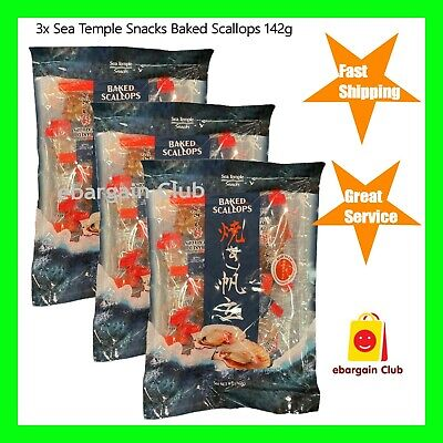 3x Sea Temple Snacks Baked Dried Scallop 142g Ready to Eat Snack Made in Japan