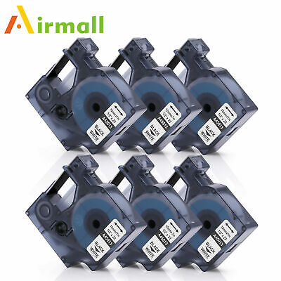 Compatible With Dymo D1 45013 12mm Label Tape Black White Labelmanager 12 6pk