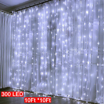 300LED/10ft Curtain Fairy USB String Lights Party Wedding Home w/Remote Control ()