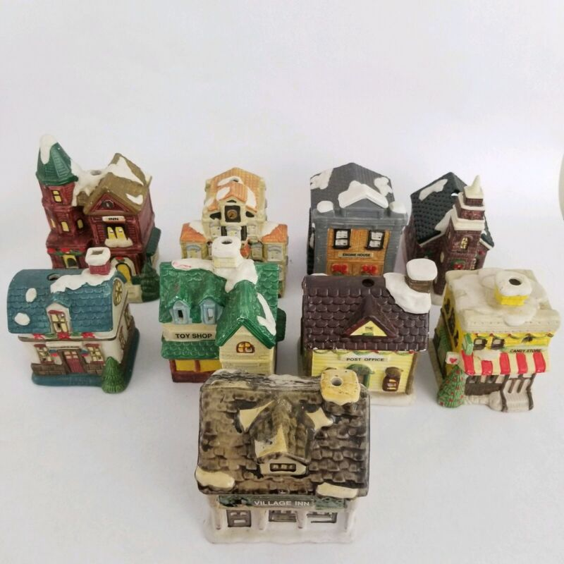 Christmas Dickens Village Tea Light Holders 9 Piece Lot JSNY Taiwan Ceramic Vtg