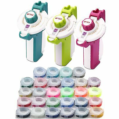 Motex Embossing Label Maker E-202 2 Pack Various Color Tapes Free Shipping
