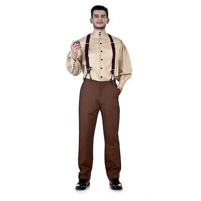 Steampunk Man Costume (Men's Classic Victorian Western Steampunk Costume Pants Trousers Brown S M L)