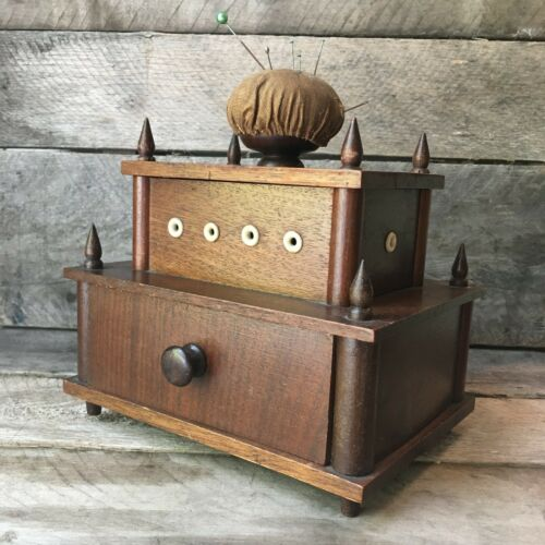 Antique Sewing Box Shaker Bone Thread Holes Pincushion Plus Extra Treasures
