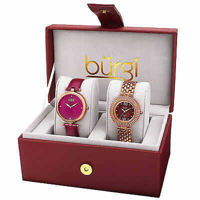 Women's Burgi BUR152RG Diamond Swarovski Pink Rose Leather/Bracelet Watch Set