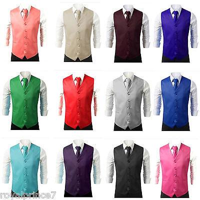 - New Men Formal Casual Tuxedo Suit Dress Vest Waistcoat & Neck tie Wedding Prom